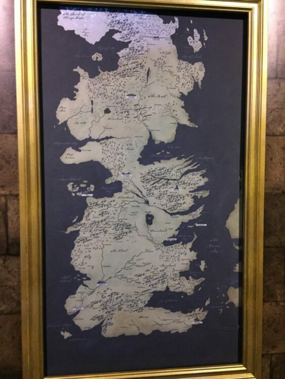 Carte des régions Game of Thrones